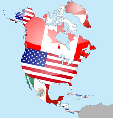 North America Flag Map