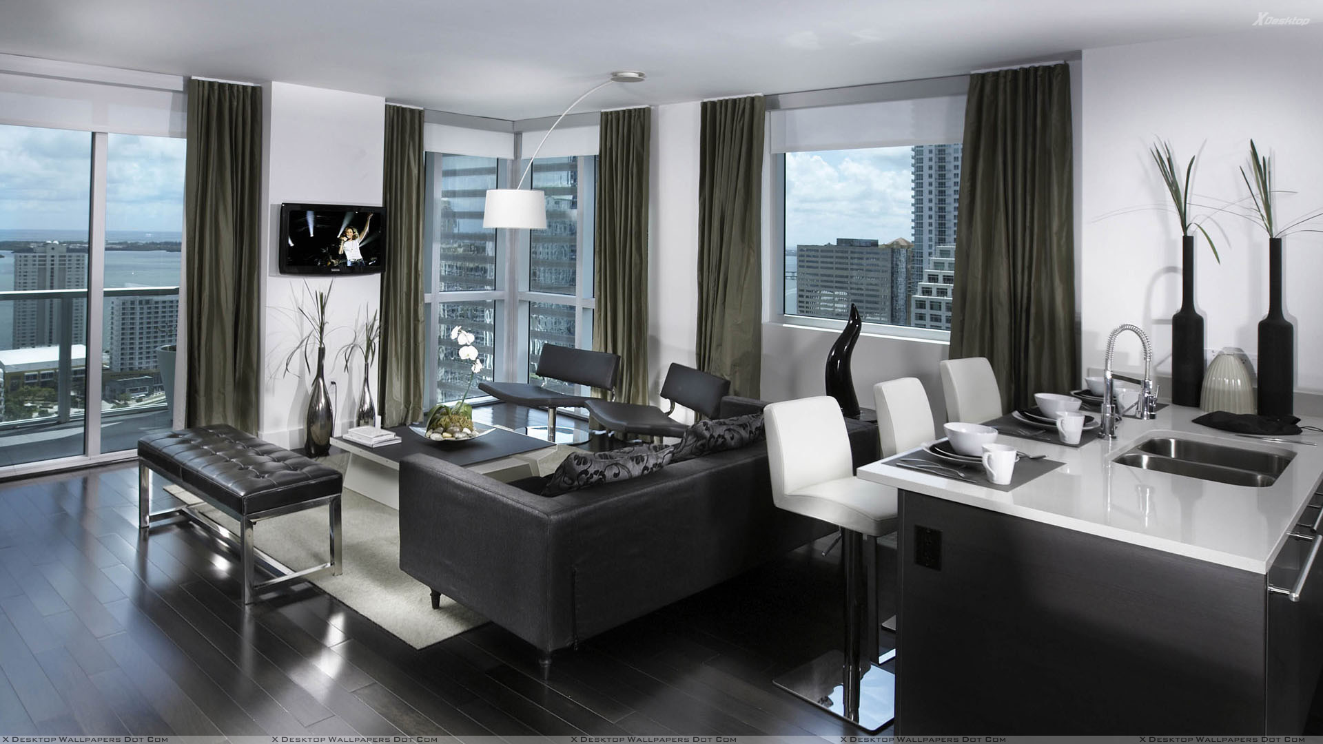 Awesome Black And White Nice Apartment Interior