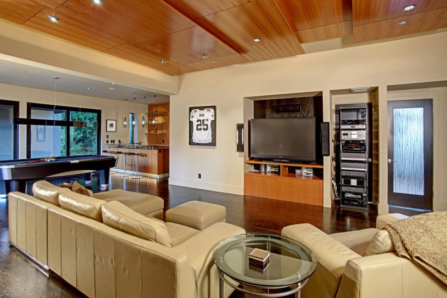 Luxurious Leather Couches Glass Coffee Table Wooden Tv Cabinet With Lcd On It In The Modern Living Room Jpg