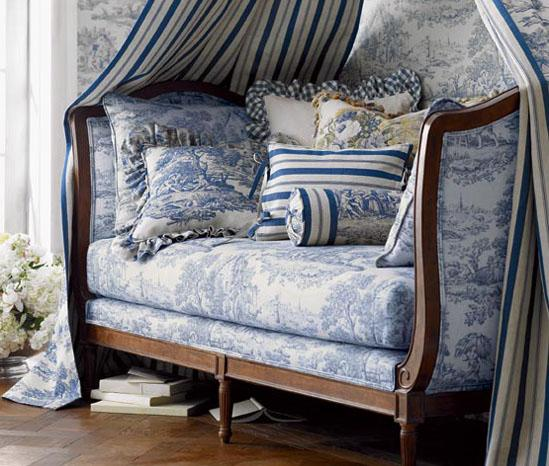 Pierre Deux  2 Blue French Provencal Daybed Canopy Toile Pillows Cushion Ticking Eclectic Home Room Decor Ideas
