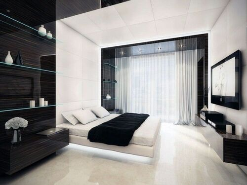 Bedroom-black-and-white-modern-house-decorating-inspiration-for