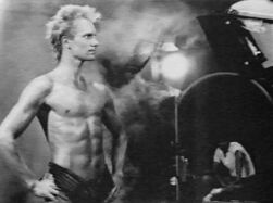 Sting half naked filming