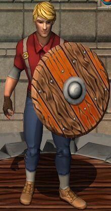 Fiery Wooden Shield