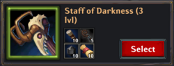 Recipe staff of darkness lv3
