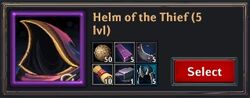 Recipe - Helm of the Thief 5lvl