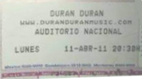 TICKET DURAN DURAN MEXICO 3a