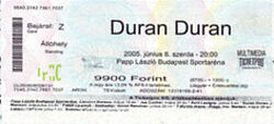 Duran Duran concert on 8th June 2005 in Budapest, Hungary wikipedia ticket stub