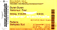 Ticket 7 june 05 viena duran duran 200