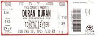 Q Toyota Center, Houston, TX, USA. wikipedia duran duran ticket stub