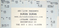 Ticket bloomfield Broomfield, CO (USA), 1st Bank Center duran duran discogs