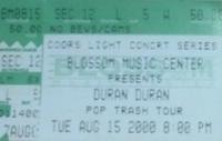 Blossom Music Center, Cuyahoga Falls (Cleveland), OH, USA WIKIPEDIA DURAN DURAN TICKET STUB PINK FLOYD