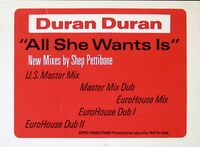 36 all she wants is song single usa SPRO-79482, SPRO-79483 promo duran duran discography discogs wikipedia 4