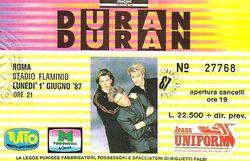 Duran ticket rome 1987