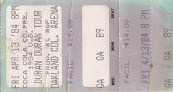 Oakland Coliseum Arena duran duran wikipedia ticket stub