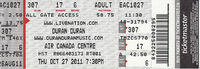 Air Canada Centre, Toronto, ON, Canada. wikipedia duran duran ticket stub collection archive