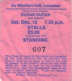 De Montfort Hall, Leicester, England wikipedia theatre ticket stub duran duran com