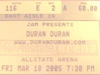 Duran ticket 18 march 2005 200