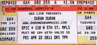 Ticket duran duran Minnesota 22 april 2011