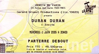Ticket duran duran 1 june 2005 paris 200