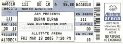 Ticket stubs wikipedia look at Allstate Arena, Chicago, IL (USA) - 18 March 2005 duran duran tour 2014