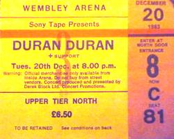 Ticket duran duran 20 december 1983