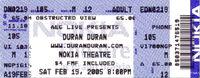 Duran Duran Dallas 2005 concert ticket stub