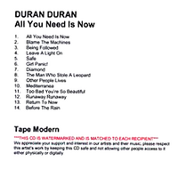 All you need is now duran DURAN album