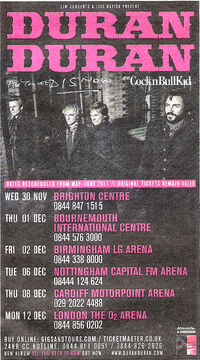 Duran duran uk tour 2011 dates advert all you need is now album