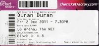 LG Arena, NEC, Birmingham wikipedia ticket stub duran duran