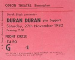 Ticket duran duran birmingham-27-11-82