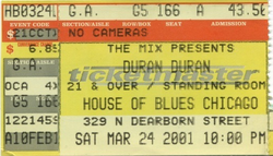 Ticket CHICAGO House of Blues, Chicago IL (USA) - 24 March 2001 duran duran