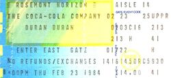 Duran duran ticket 23 february 1984