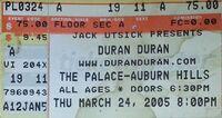 Palace of Auburn Hills, Auburn Hills, Detroit, MI, USA. wikipedia ticket stub 2005 duran duran concert