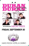 The Joint Friday, September 30 room key from The Hard Rock Hotel and Casino in Las Vegas duran duran