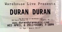 Duran duran tickets warehouse