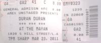 Mayan duran duran ticket stub