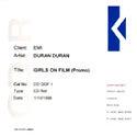 GIRLS ON FILM UK PROMO CD 1998 DURAN DURAN WIKIPEDIA COLLECTION