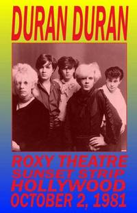 Duran duran roxy theatre 1981 poster
