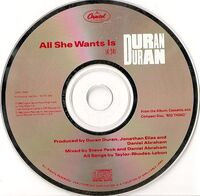 38 all she wants is single cd usa DPRO-79456 promo duran duran band discography discogs wikipedia