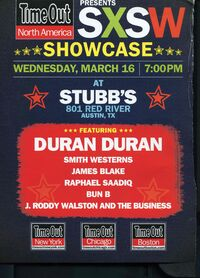 Sxs showcase march 16 stubb's 801 red river austin tx wikipedia duran duran
