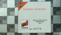Ticket Duran Duran ticket stub 2 from Paris 2 April 1987 wikipedia