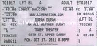Ticket 17 oct 2011 tower theater duran duran concert show