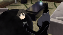 X2 EP02 Celty leaves Shinra in a black cocoon