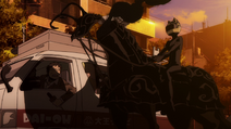 X2 EP01 Celty shows Shooter to the news van