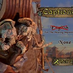 The captions menu
