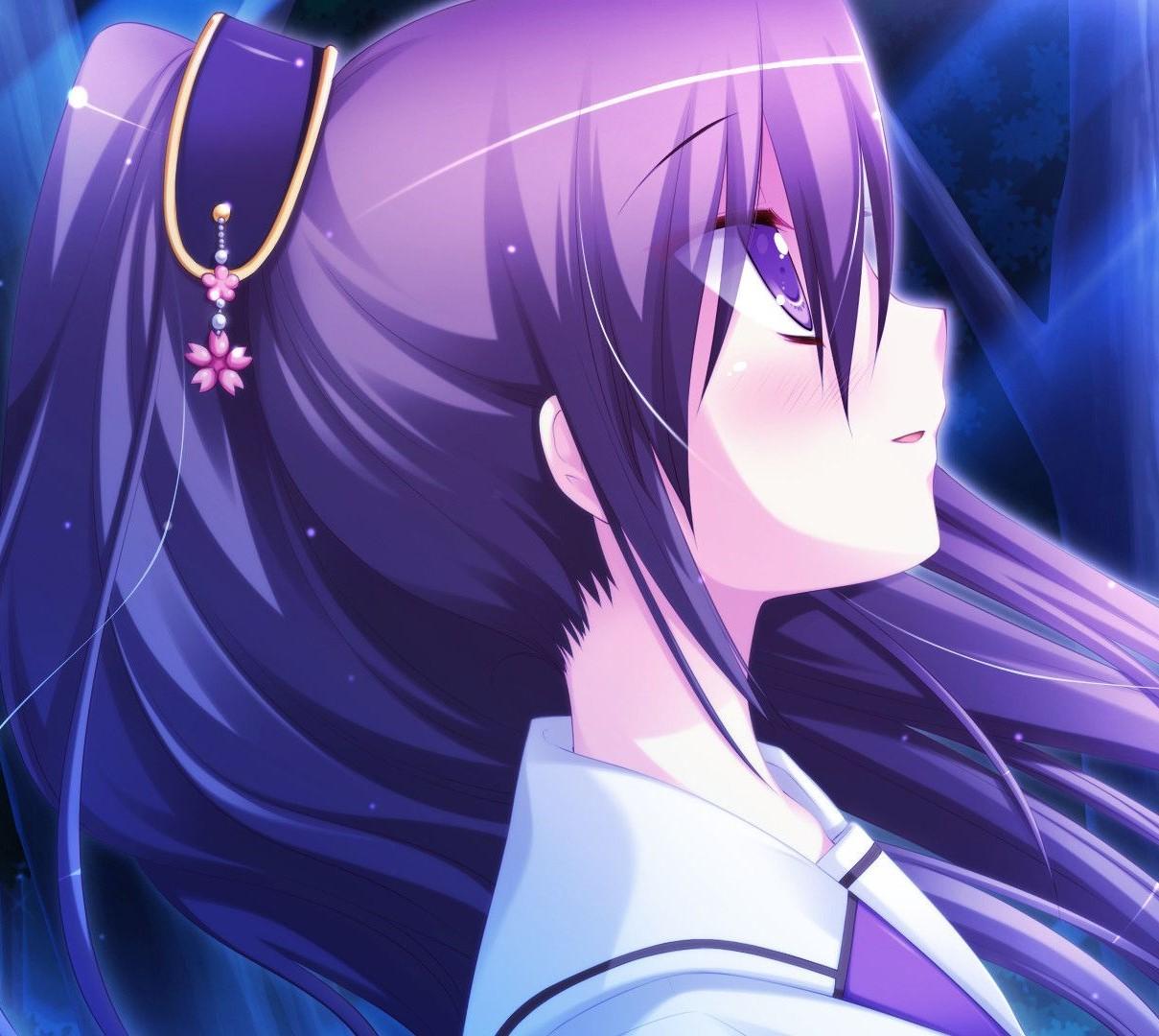 Anime girl purple hair 207101 jpg