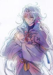 Merlin holding Arthur