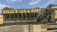 Bilal's Tar & Dust Workshop sign