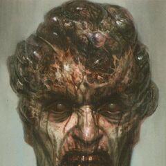 Ostateczny koncept wyglądu Ncnego Łowcy, przedstawiający wrzody na głowie