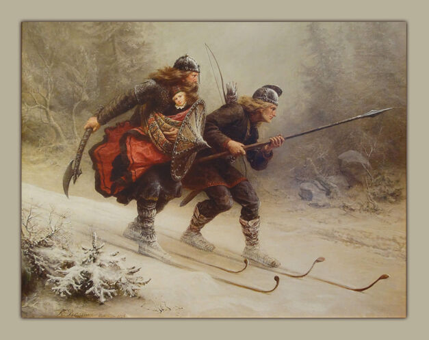 "The Last King Painting - ""Skiing Birchlegs Crossing the Mountain with the Royal Child"""